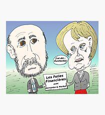 Mekel et Bernanke en caricature des folies boursier Photographic Print