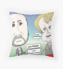 Mekel et Bernanke en caricature des folies boursier Throw Pillow