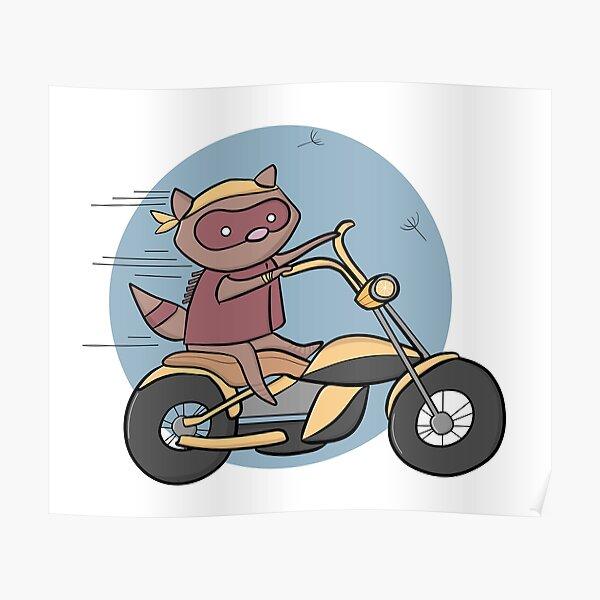 Alfredo, the biker raccoon. Poster