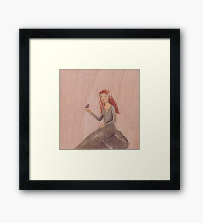 Orange and grey, Girl and Robin Framed Print