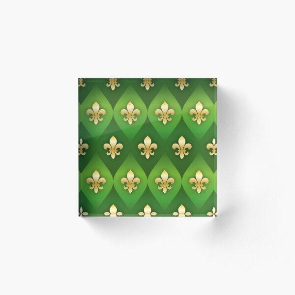 Fleur de Lys / Fleur de Lis Grün-Gold Metallic-Look Acrylblock