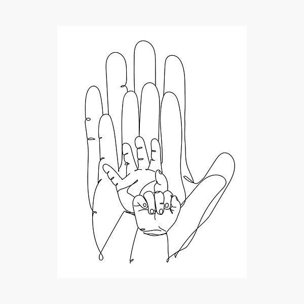 Family of Four Hands One Line Drawing Photographic Print