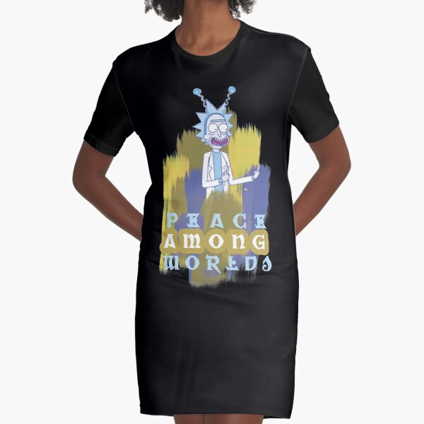 Peace Among Worlds Rick and Morty Graphic T-Shirt Dress