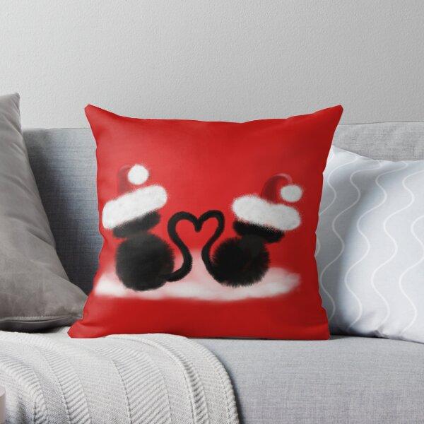 Weihnachtskatzen mit Herz Dekokissen