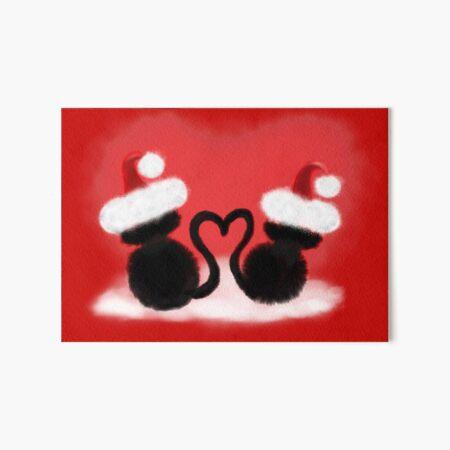 Weihnachtskatzen mit Herz Galeriedruck
