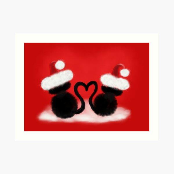 Weihnachtskatzen mit Herz Kunstdruck