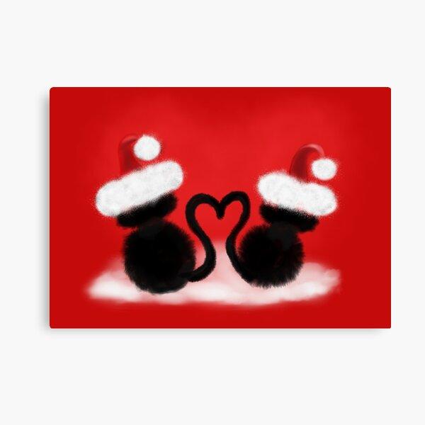 Weihnachtskatzen mit Herz Leinwanddruck