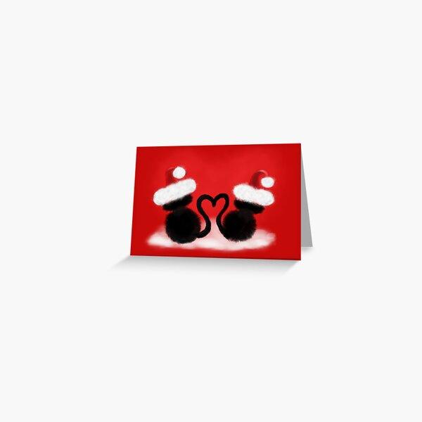 Weihnachtskatzen mit Herz Grußkarte
