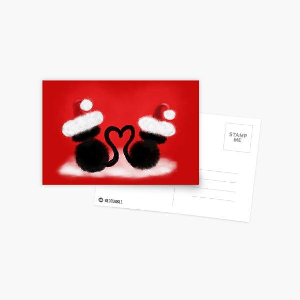Weihnachtskatzen mit Herz Postkarte