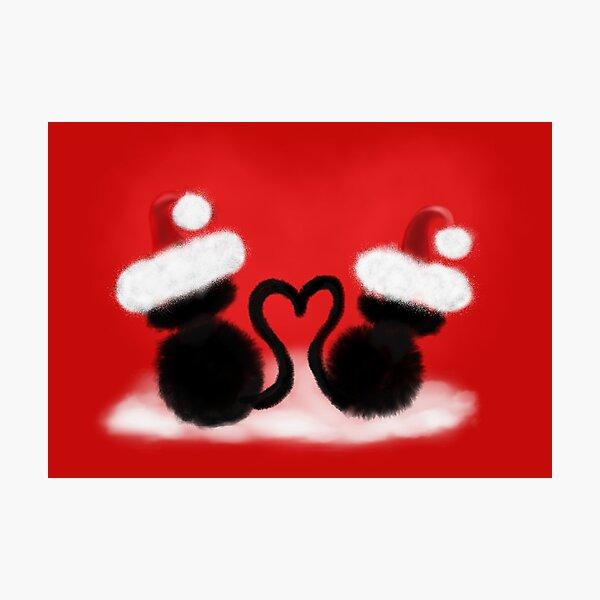 Weihnachtskatzen mit Herz Fotodruck
