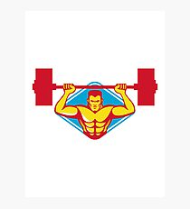 weightlifter body builder lifting weights  retro Photographic Print