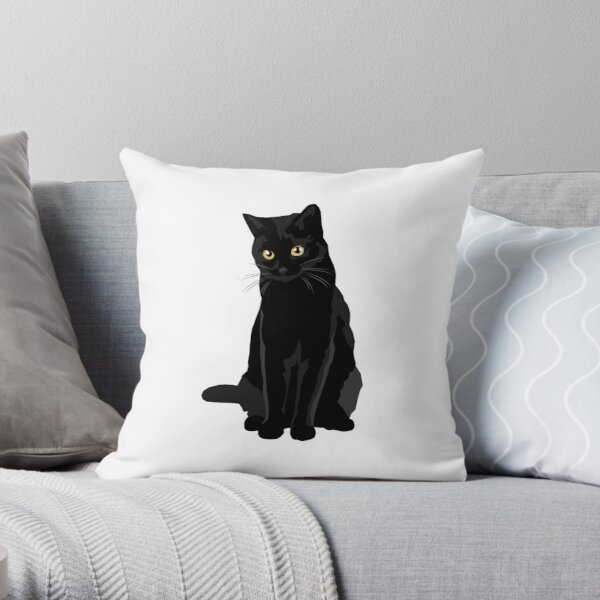 Chat noir Coussin