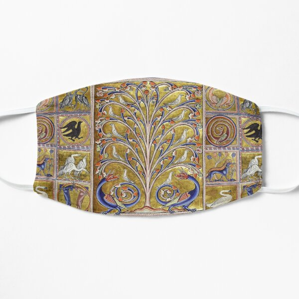 MEDIEVAL BESTIARY,TREE OF LIFE ,BIRDS,DRAGONS FANTASTIC ANIMALS IN GOLD RED BLUE COLORS Maske