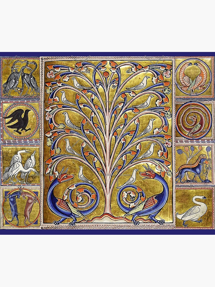 MEDIEVAL BESTIARY,TREE OF LIFE ,BIRDS,DRAGONS FANTASTIC ANIMALS IN GOLD RED BLUE COLORS by BulganLumini