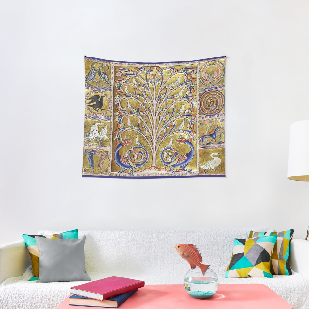 MEDIEVAL BESTIARY,TREE OF LIFE ,BIRDS,DRAGONS FANTASTIC ANIMALS IN GOLD RED BLUE COLORS Tapestry