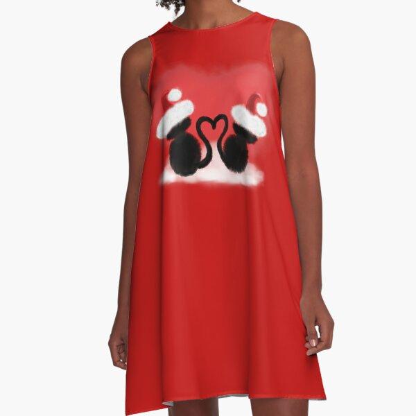 Weihnachtskatzen mit Herz A-Linien Kleid