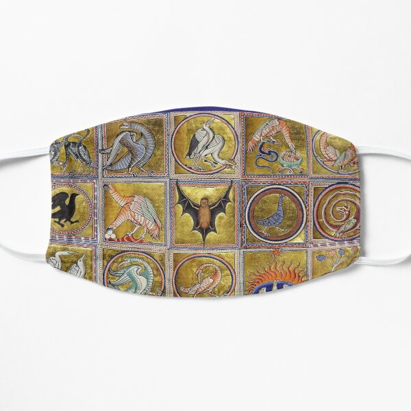MEDIEVAL BESTIARY, FANTASTIC ANIMALS IN GOLD RED BLUE COLORS Mask