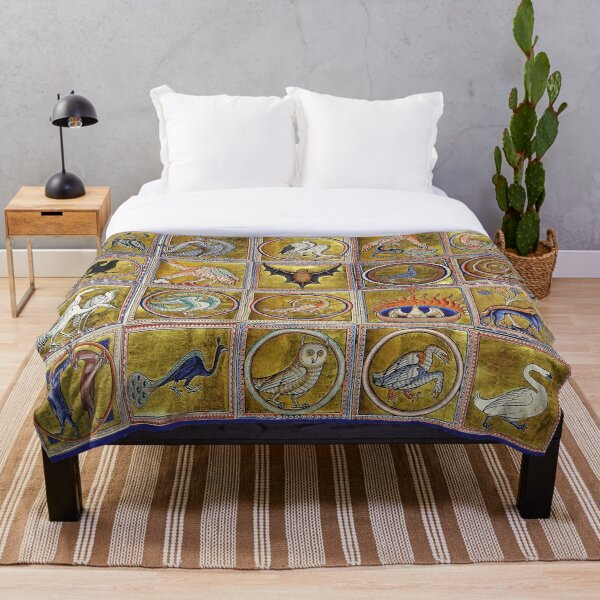 MEDIEVAL BESTIARY, FANTASTIC ANIMALS IN GOLD RED BLUE COLORS Throw Blanket