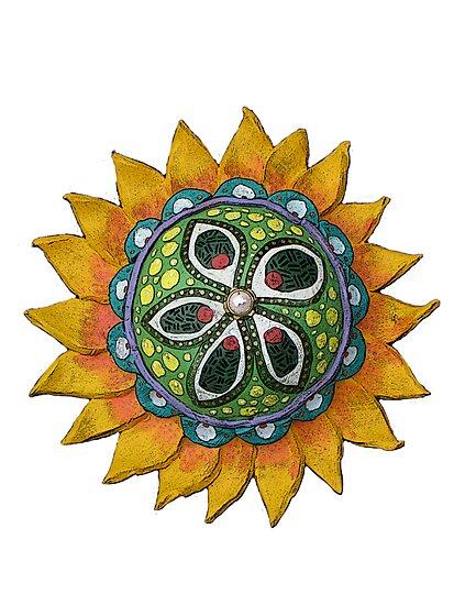 Sun Sunflower Mandala Original Print Design from Clay by KFStudios