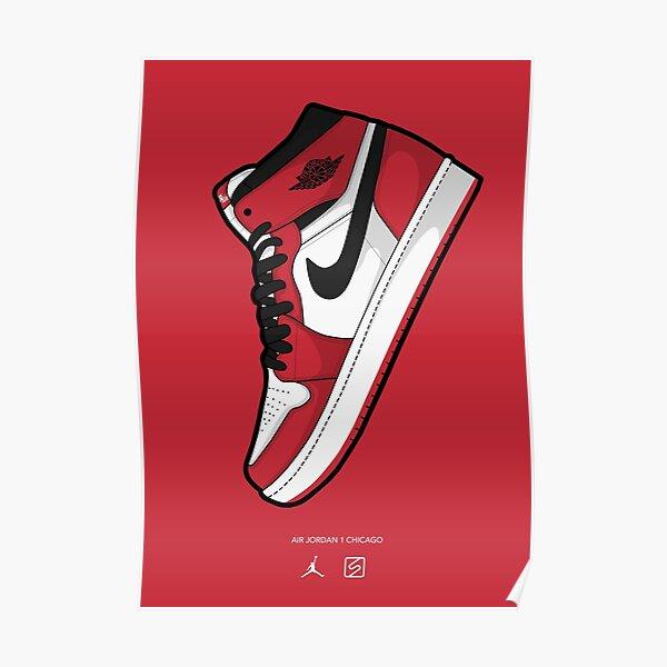 Jordan 1 Chicago Red BG Póster