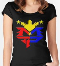 Manny Pacquiao Pac-Man Boxing Champion Women's Fitted Scoop T-Shirt