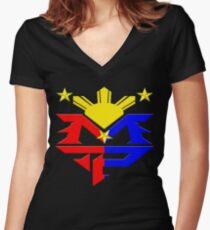 Manny Pacquiao Pac-Man Boxing Champion Women's Fitted V-Neck T-Shirt