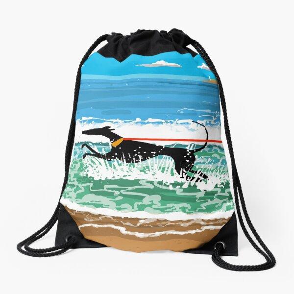 Running in the Sea Drawstring Bag