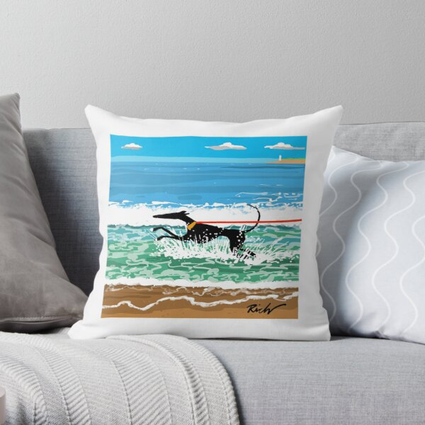 Running in the Sea Throw Pillow