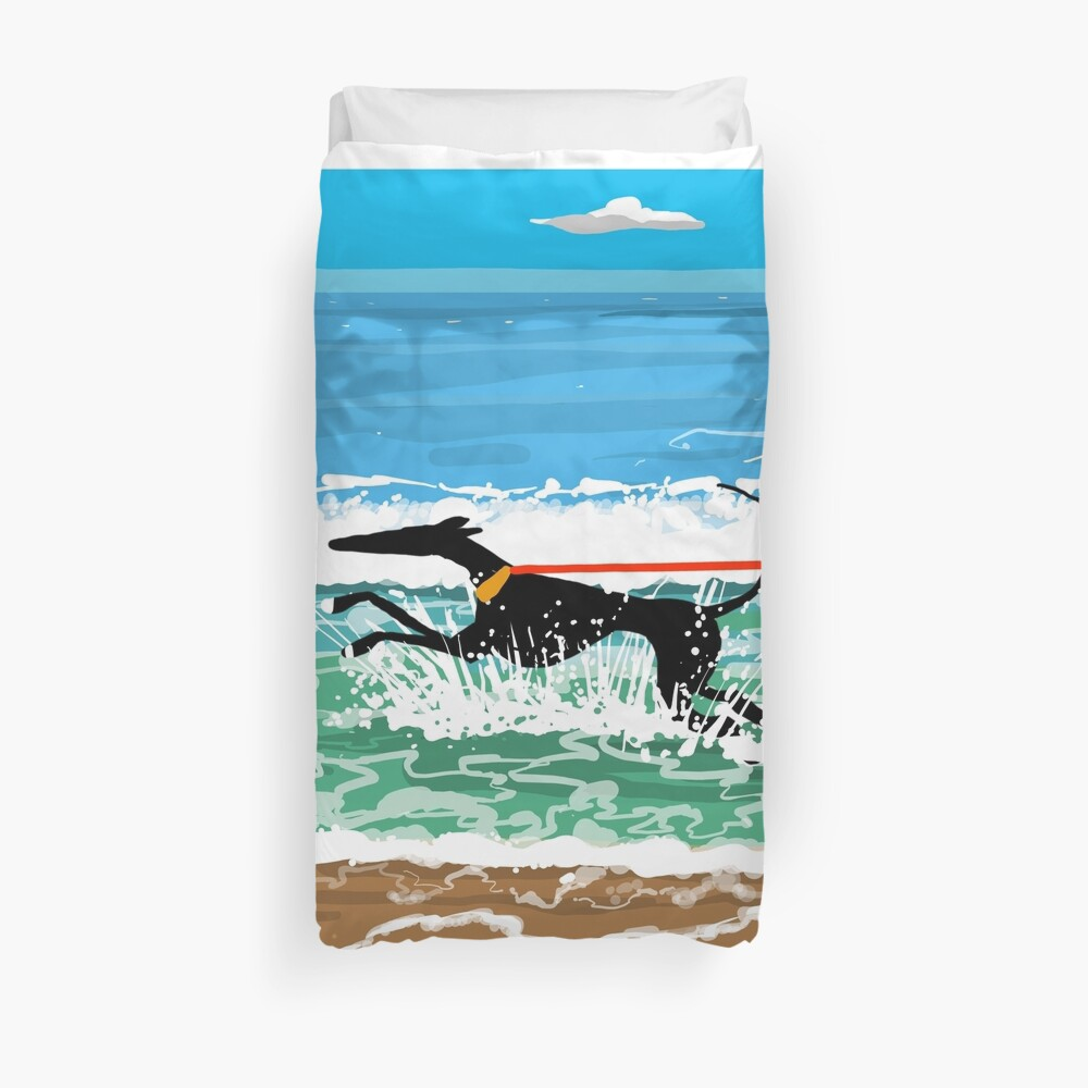 Running in the Sea Duvet Cover
