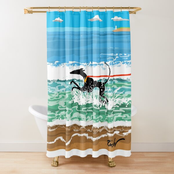 Running in the Sea Shower Curtain