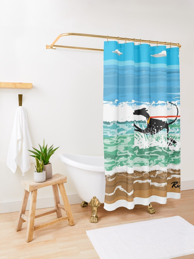 Alternate view of Running in the Sea Shower Curtain