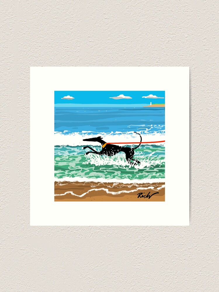 Alternate view of Running in the Sea Art Print