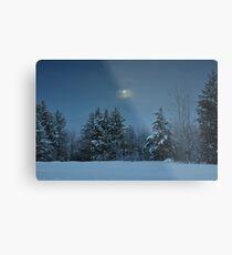 Winter Moon Shine Over Island Park Metal Print