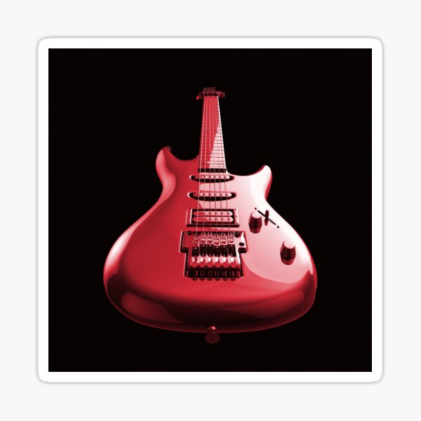Colourful rock guitar with high gloss reflection. Sticker