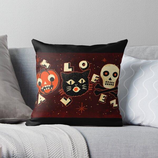 Halloween pumpkin cat skull vintage Throw Pillow
