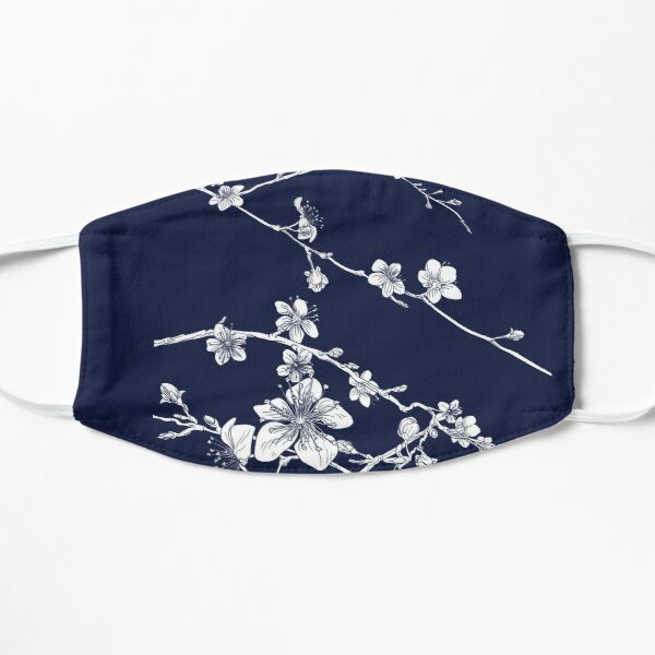Navy and white cherry blossom pattern 2020 Mask