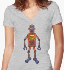 Retro Robot Women's Fitted V-Neck T-Shirt