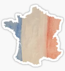 France Country Outline in Tricolor Flag Colors Sticker