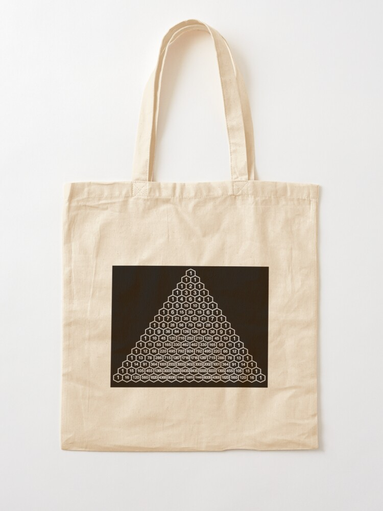 Alternate view of In mathematics, Pascal's triangle is a triangular array of the binomial coefficients Tote Bag
