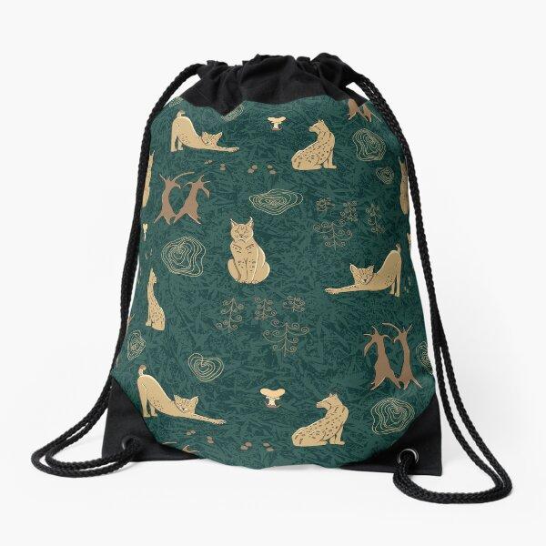 Lovely woodland lynxes on dark foliage Drawstring Bag