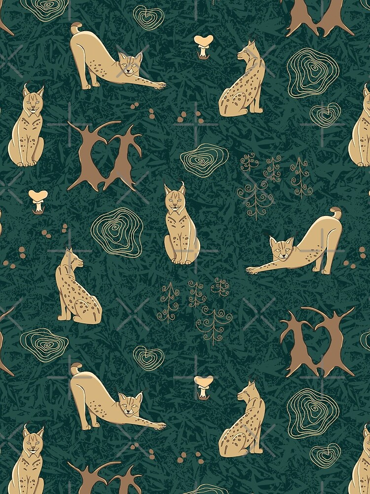 Lovely woodland lynxes on dark foliage by nobelbunt
