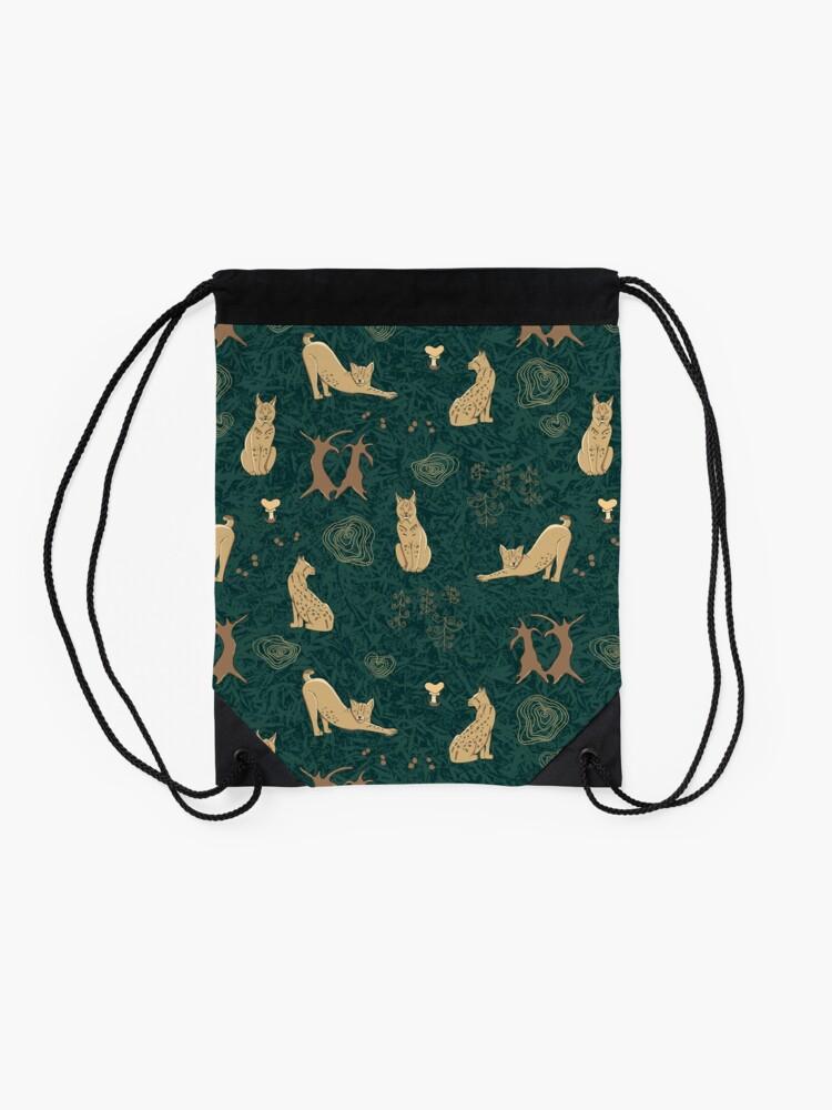 Alternate view of Lovely woodland lynxes on dark foliage Drawstring Bag