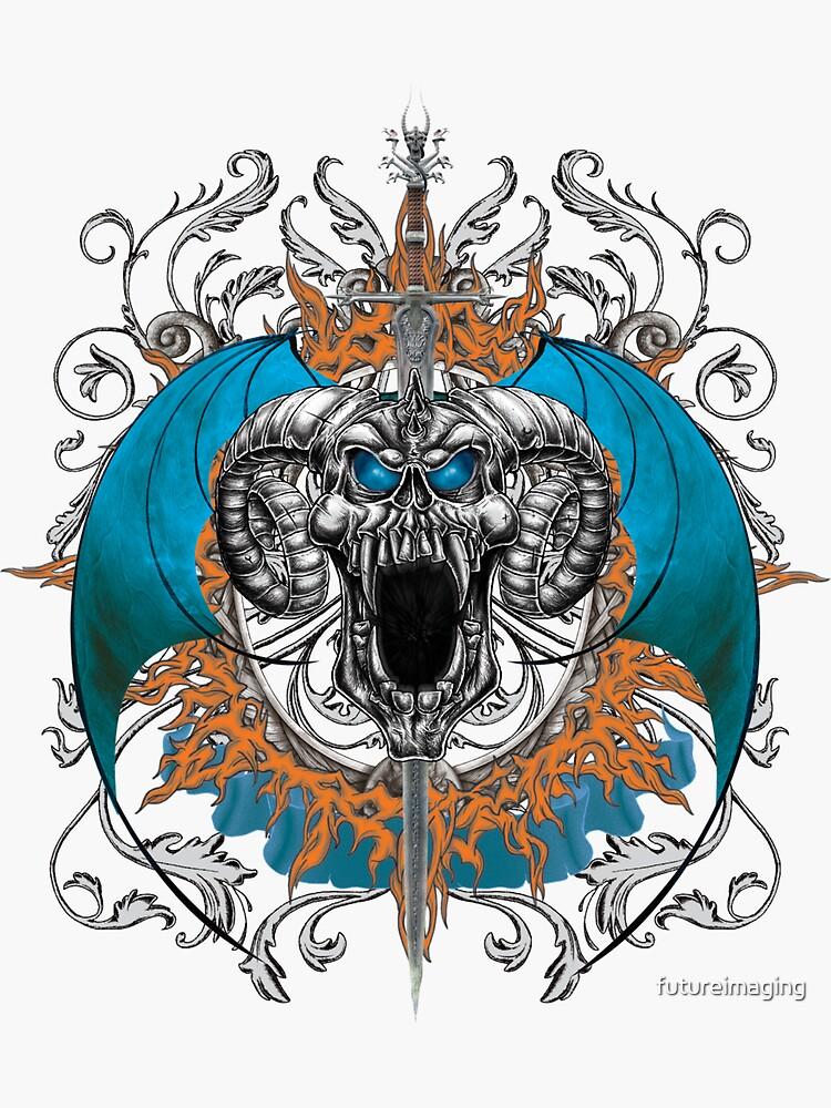 Blue Demon Wings & Skull by futureimaging