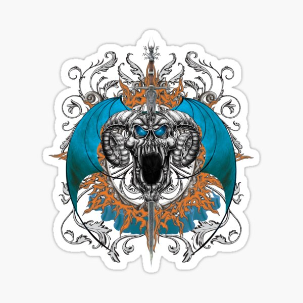 Blue Demon Wings & Skull Sticker