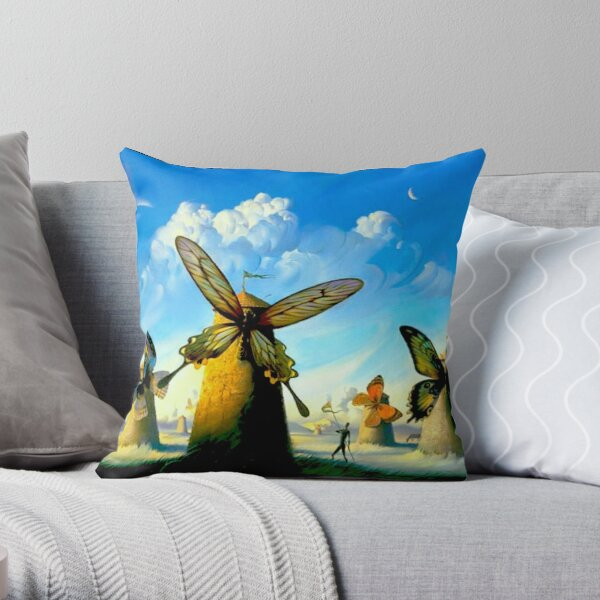 BUTTERFLY WINDMILLS : Vintage Abstract Print Throw Pillow