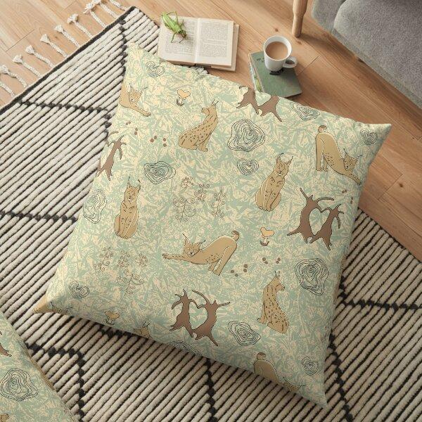 Lovely woodland lynxes on light foliage Floor Pillow