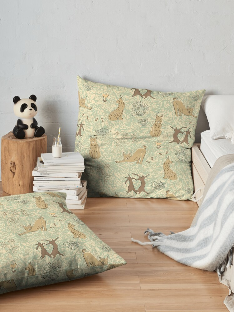 Alternate view of Lovely woodland lynxes on light foliage Floor Pillow