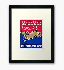 Democrat Donkey Mascot America Vote Framed Print