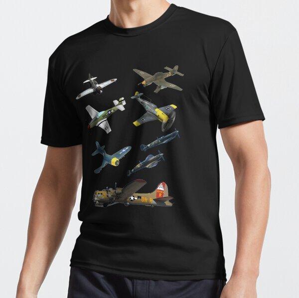 Famous WW2 Planes Warbirds P51 Mustang Spitfire Messerschmitt� Active T-Shirt