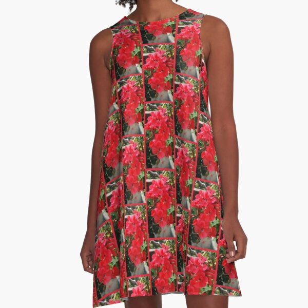 Red Flower Cluster, Colorful Photography by Courtney Hatcher A-Line Dress